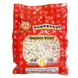 Tapioca Pearl multicolor WUFUYAN / 台湾快熟多色珍珠粉园 - 1kg