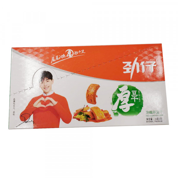 Jinzai Dried tofu pickled pepper flavor  /劲仔泡椒厚豆干 - 25g*20