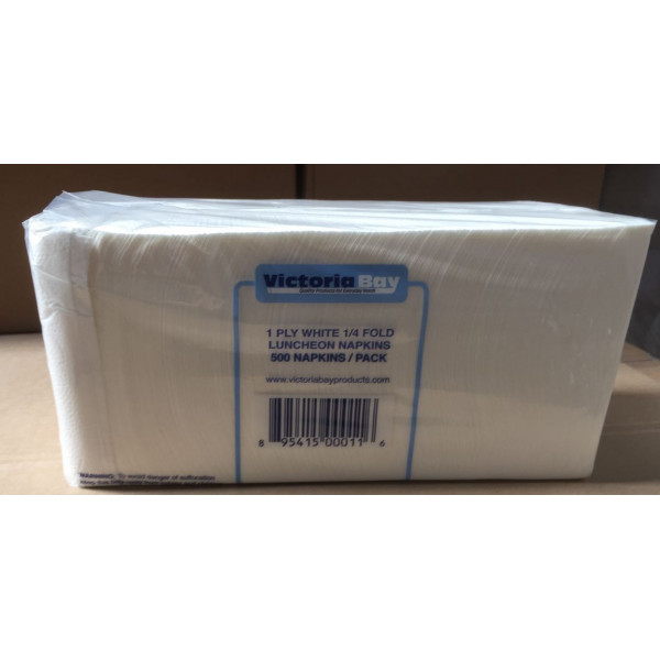 Victoria Bay White 1-Ply Luncheon Napkin / 白色1层餐巾纸 - 500/Pack