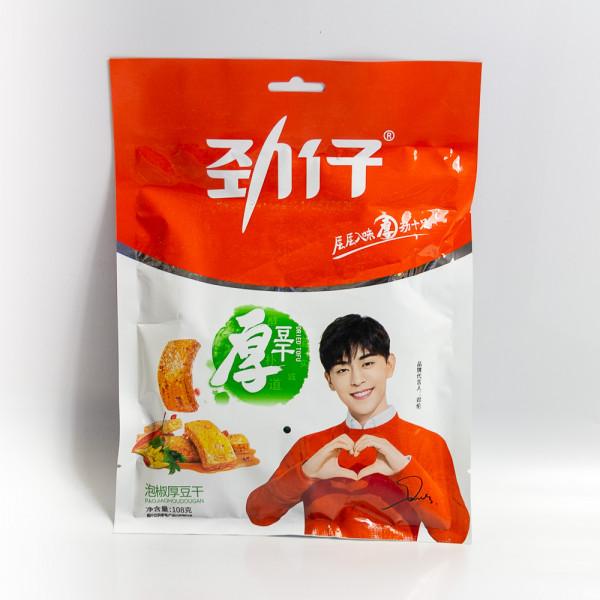 Jinzai Dried tofu pickled pepper flavor /劲仔泡椒厚豆干108g
